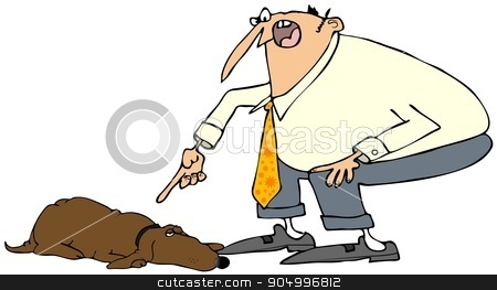 Man scolding a dog stock photo, Illustration depicting a man pointing his finger and scolding a dog. by Dennis Cox