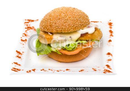 Big hamburger on white background stock photo, Big hamburger isolated on a white background by StepStock