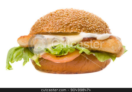 Big hamburger on white background stock photo, Big hamburger isolated on a white background by StepStock
