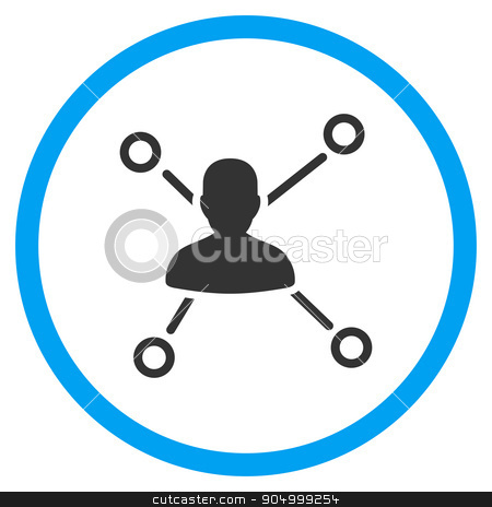 Person Connections Rounded Icon stock vector clipart, Person Relations vector icon. Style is bicolor flat circled symbol, blue and gray colors, rounded angles, white background by ahasoft