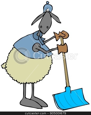Sheep leaning on a snow shovel stock photo, Illustration depicting a sheep dressed in winter clothing leaning on a snow shovel. by Dennis Cox