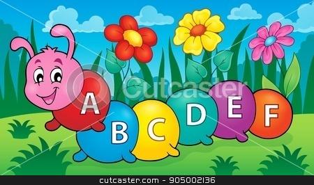 Happy caterpillar with letters theme 2 stock vector clipart, Happy caterpillar with letters theme 2 - eps10 vector illustration. by Klara Viskova