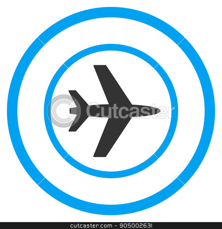 Airport Rounded Icon stock vector clipart, Airport vector icon. Style is bicolor flat circled symbol, blue and gray colors, rounded angles, white background by ahasoft