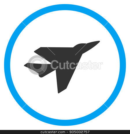 Intercepter Circled Icon stock photo, Intercepter glyph icon. Style is bicolor flat circled symbol, blue and gray colors, rounded angles, white background by ahasoft
