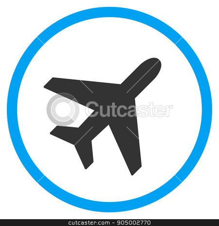 Plane Rounded Icon stock photo, Plane glyph icon. Style is bicolor flat circled symbol, blue and gray colors, rounded angles, white background by ahasoft