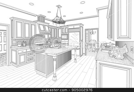 Black Custom Kitchen Design Drawing on White stock photo, Beautiful Custom Kitchen Design Drawing in Black on White. by Andy Dean