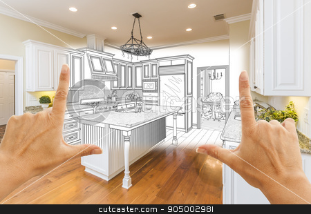 Hands Framing Custom Kitchen Design Drawing and Square Photo Com stock photo, Female Hands Framing Custom Kitchen Design Drawing and Square Photo Combination. by Andy Dean
