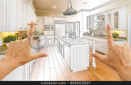 Hands Framing Gradated Custom Kitchen Design Drawing and Photo C stock photo, Female Hands Framing Gradated Custom Kitchen Design Drawing and Photo Combination. by Andy Dean
