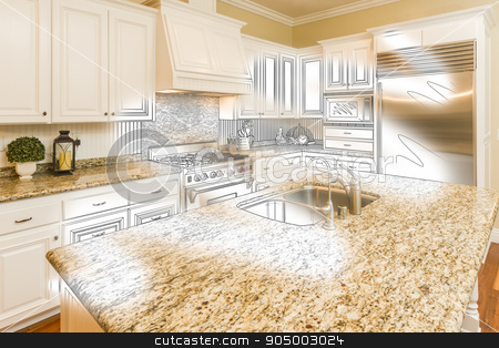 Custom Kitchen Design Drawing and Brushed Photo Combination stock photo, Beautiful Custom Kitchen Design Drawing and Brushed In Photo Combination. by Andy Dean