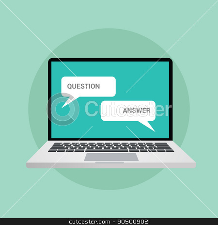 question and answer concept illustration in chat stock vector clipart, question and answer concept illustration in chat style online computer notebook laptop by ribkhan