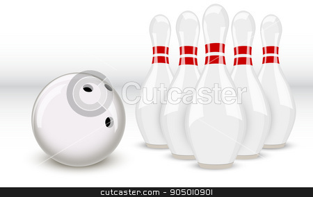 bowling ball and pins stock vector clipart, bowling ball and pins two-color on a white background by sergeevana