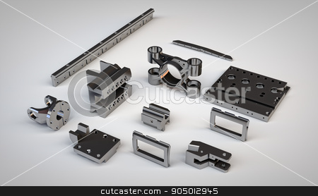 chrome-plated metal details different mechanisms  stock photo, chrome-plated metal gear details of different mechanisms an isometric view isolated on white background. Illustration of spare steel parts of industrial machinery by Danil Trapeznikov