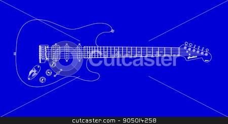 Electric Guitar Blueprint stock vector clipart, A modern solid body electric guitar in blueprint by Kotto