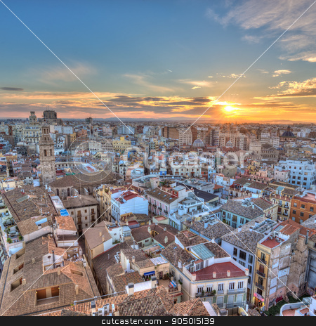 Sunset Over Historic Center of Valencia, Spain. stock photo, Sunset Over Historic Center of Valencia, Spain. Aerial view of cityscape. Square composition. by kasto