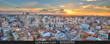 Sunset Over Historic Center of Valencia, Spain. stock photo, Sunset Over Historic Center of Valencia, Spain. Panoramic aerial view of cityscape. by kasto