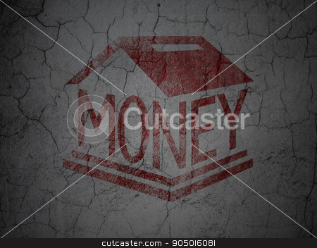 Currency concept: Money Box on grunge wall background stock photo, Currency concept: Red Money Box on grunge textured concrete wall background by mkabakov