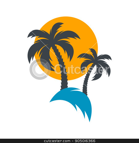 Sun and palm trees illustration stock vector clipart, Sun and palm trees summer beach vector illustration by blumer