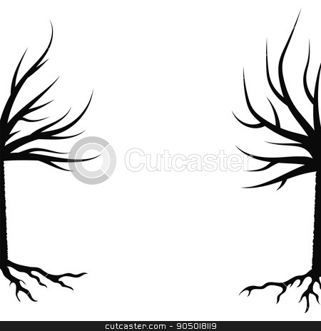 Winter Trees Silhouettes stock vector clipart, Winter Trees Silhouettes Isolated on White Background by valeo5