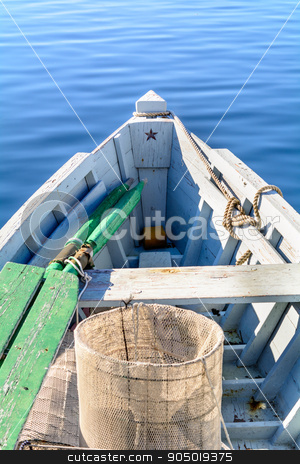 Bow of the boat with the star. stock photo, Fragmentary view details of knots and ropes on the yacht moored in the dock by osmar01