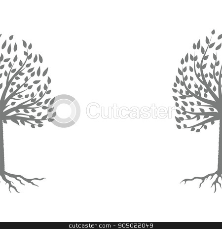 Tree Gray Silhouette stock vector clipart, Tree Gray Silhouette Isolated on White Background by valeo5