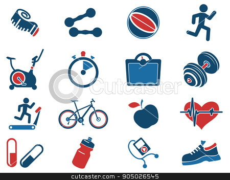 Set of  icons on fitness. stock vector clipart, Set of  icons on fitness. simply symbol for web icons by Maksim Rybak