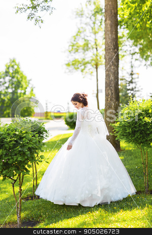 Beautiful bride in white dress in the spring garden stock photo, Beautiful bride in white dress in the spring garden by Satura86