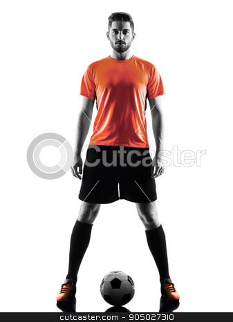 Soccer player Man Isolated silhouette stock photo, one caucasian Soccer player Man in silhouette isolated on white backgound by Ishadow