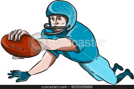 American Football Player Touchdown Drawing stock vector clipart, Drawing sketch style illustration of an american football gridiron receiver with ball scoring touchdown set on isolated white background. by patrimonio