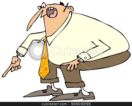 Angry businessman pointing down stock photo, Illustration of an angry businessman stooping and pointing down with his finger. by Dennis Cox