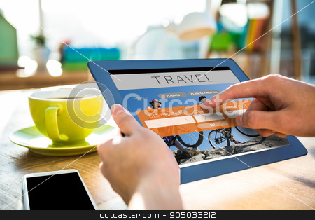 Composite image of cropped image of hipster businessman using ta stock photo, Cropped image of hipster businessman using tablet  against holidays booking app by Wavebreak Media