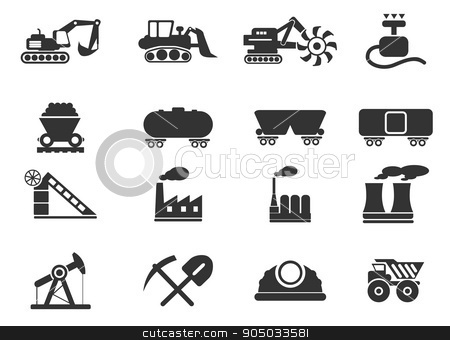 Factory and Industry Symbols stock vector clipart, Factory and Industry  simply symbols for web and user interface by Maksim Rybak