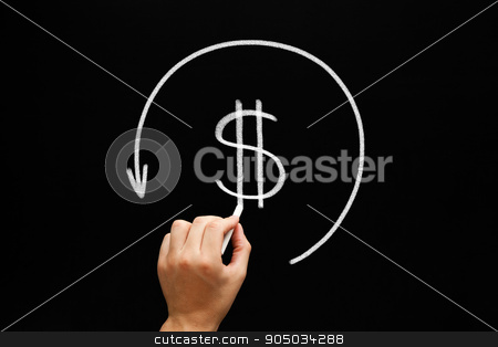 Refund Arrow Concept Blackboard stock photo, Hand drawing Refund concept - dollar sign in arrow circle with chalk on blackboard. Compensation paid to a customer for returned goods or for over-invoicing. Tax refund - return by the taxation authorities of excess tax paid. by Ivelin Radkov