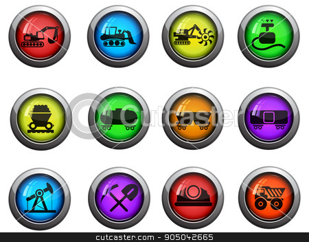Industry icons set stock vector clipart, Industry round glossy icons for web site and user interfaces by Maksim Rybak