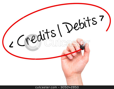 Man Hand writing Credits - Debits with black marker on visual sc stock photo, Man Hand writing Credits - Debitswith black marker on visual screen. Isolated on background. Business, technology, internet concept. Stock Photo by netsay