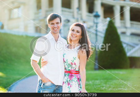 Portrait of young couple looking at the views in the city stock photo, Portrait of young couple looking at the views in the city. by timonko