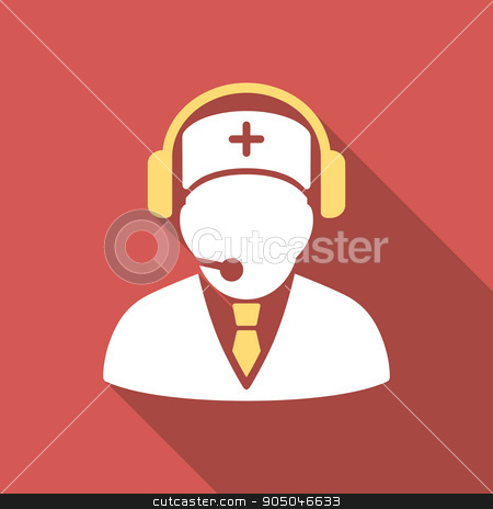 Medical Emergency Operator Flat Square Icon with Long Shadow stock photo, Medical Emergency Operator long shadow icon. Style is a light flat symbol on a red square button by ahasoft
