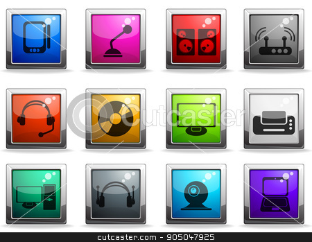 media icons set stock vector clipart, media vector icons for web sites and user interface by Maksim Rybak