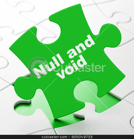 Law concept: Null And Void on puzzle background stock photo, Law concept: Null And Void on Green puzzle pieces background, 3d render by mkabakov