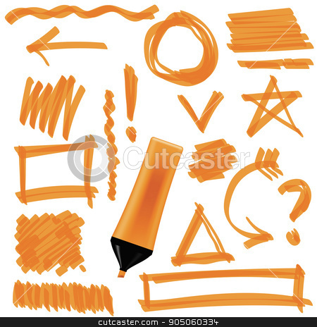 Set of Graphic Signs. Arrows, Circles stock vector clipart, Orange Marker Isolated on White Background. Set of Graphic Signs. Arrows, Circles, Correction Lines by valeo5