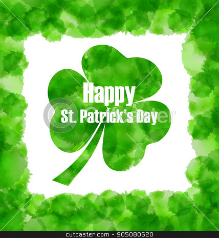 Happy Saint Patricks Day Watercolor Background with Clover stock vector clipart, Illustration Happy Saint Patricks Day Watercolor Background with Clover - Vector by -=Mad Dog=-