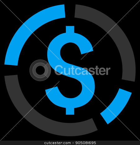 Financial Diagram Flat Vector Icon stock vector clipart, Financial Diagram vector icon. Style is flat symbol, blue color, black background by ahasoft