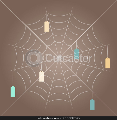 spider mesh with hanging tags stock vector clipart, vector image, spider web, template for designer by Stas Vulkanov