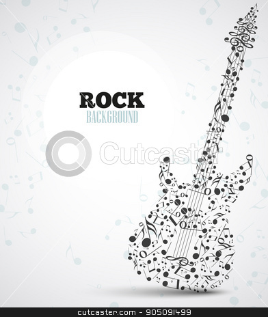 Vector electric guitar stock vector clipart, Vector background musical notes in the shape of an electric guitar by Miroslava Hlavacova