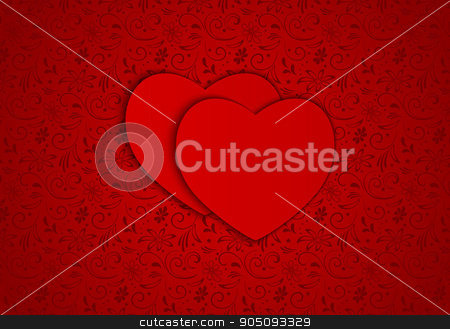 Vector background red hearts stock vector clipart, Vector background red hearts on a red background by sergeevana