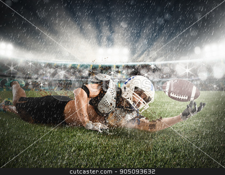 Catch the ball stock photo, Football player rushes to catch the ball by Federico Caputo