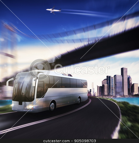 Transport stock photo, Bus on road with bridge and aircraft by Federico Caputo