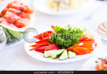 table with fresh vegetables stock photo, Seasonal table with fresh vegetables and fruit by Satura86