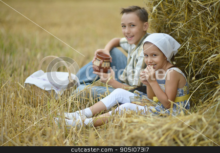 Kids  with milk and fritters in field stock photo, Portrait of happy kids  with milk and fritters in field at summer by Ruslan Huzau
