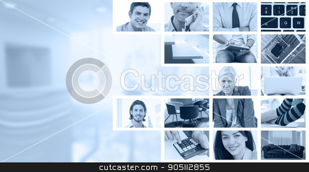 Composite image of businessmen using laptop stock photo, Businessmen using laptop against white staircase in a home by Wavebreak Media