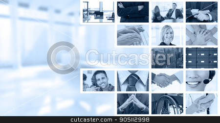 Composite image of shaking hands over eye glasses and diary afte stock photo, Shaking hands over eye glasses and diary after business meeting against business people using keyboard by Wavebreak Media